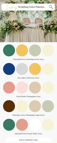 The Ultimate Ivory Wedding Color Schemes for Summer/Fall 2021 by CV Linens. Ivory wedding color scheme combinations for 2021 summer weddings and 2021 fall weddings. 2021 wedding colors and 2021 wedding trends color schemes for the summer and fall wedding season. Elegant ivory classic wedding color palette for classic wedding theme and classic wedding decorations. Color scheme combos for 2021 ivory wedding. Wedding Color Palettes, Wedding Color Pallet, Wedding Color Schemes, March Wedding Colors, Summer Wedding Colors, Summer Weddings, Classic Wedding Themes, Black And White Wedding Theme, Wedding Season
