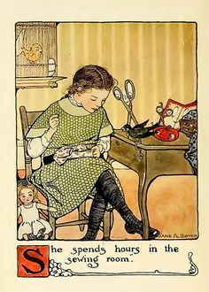 Art nouveau A4 colour print book illustration girl sewing by Jane Allen Boyer £5.99