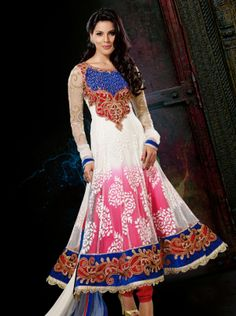 Splendorous Pink & White Brasso, Net Long ANARKALI Suit  $ 108
