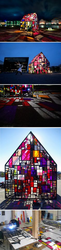 Artist Tom Fruin created this vivid outdoor pavilion in the plaza of The Royal Danish Library in Copenhagen, Denmark.