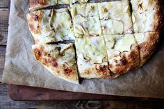 Apple pizza with creme fraiche and bacon