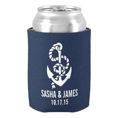 Navy & White Nautical Rope & Anchor Wedding Favor Can Cooler More nautical themed gifts and decor at http://nauticalgiftsdecorweddings.dramaticallycorrect.com/