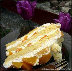 Jaskinia Smaku: Tort brzoskwiniowy z mascarpone Vanilla Cake, Sweet Recipes, French Toast, Cheesecake, Breakfast, Ethnic Recipes, Food, Mascarpone, Polish