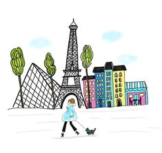 illustration of a girl in Paris.