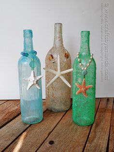 Love the beach themevof these bottles. Supply list, instructions, etc on website. Textured Beach Vase by @amandaformaro Crafts by Amanda