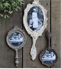 Old hand held mirrors repurposed