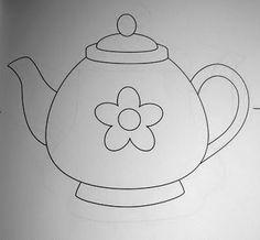 Arts of Nil - Risk & Scratches: Teapot, cups and kettles Applique Templates, Applique Patterns, Applique Designs, Patch Quilt, Art Drawings For Kids, Easy Drawings, Mug Rug Patterns, Quilt Patterns, Wool Applique