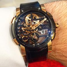 Romain Jerome Skylab skeleton manual winding limited to 99 pieces in Black PVD & Gold. Romain Jerome, Time Is Money, Fine Watches, Watch Brands, Skeleton, Manual, Gold, Accessories, Black