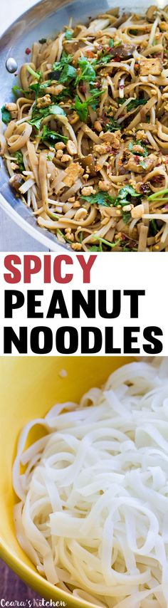 Vegan Spicy Peanut Noodles made with all natural peanut butter, crispy tofu and bok choy! This is a simple meal with a lot of flavour, awesome textures and a real kick. Whole Food Recipes, Dinner Recipes, Cooking Recipes, Vegan Foods, Vegan Dishes, Vegan Meals, Spicy Peanut Noodles, Vegetarian Recipes, Healthy Recipes
