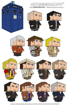 Cubeecraft - Doctor Who by CyberDrone.deviantart.com on @deviantART  I've done #11 with a fez and a mop, several adipose, the Tardis, Amy, Rory, River, Vastra, a couple of Weeping Angels, a Cyberman and a few Daleks.  They're tedious to cut and fold but well worth the effort.  Gave me a warm feeling of accomplishment and pride! <3