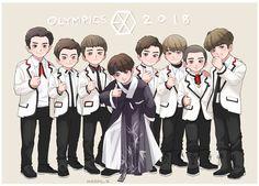 #chanyeol #baekhyung #suho #sehun #lay #chen #xiumin #kai #do #kyungsoo #exo #fanart #Olympics