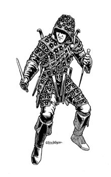 This stock art image by Eric Lofgren depicts a deadly rogue in black and white line art. $10.  www.rpgnow.com/product_info.php?products_id=124097&affiliate_id=34429&src=Pinterest