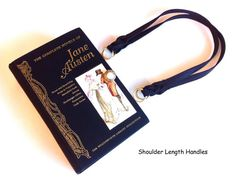 www.NovelCreations.etsy.com  > > > SWIPE through and TAP ON photos to see all the selections.< < <  ❀ From a collection of Jane Austen romance novels, I have created a unique book cover handbag.  ❀ The black linen bound book is stamped with gold lettering along with a sweet picture ❀ It makes a lovely gift for the fashionable Jane Austen follower.    Fun Details:  ❀ Your purse measures 10 inches by 6 inches with generous 3 inch bottom of purse, lots of room for goodies.  ❀ I...