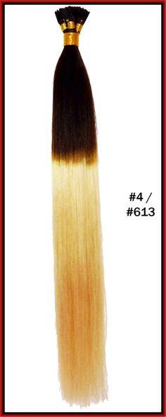 "The Hair Extension Company - 20"" Stick Tip Human Hair Extension Reverse Dip Dye"