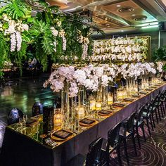 EVENT .  The view from above of our Fairytale Forest. We created a series of King's Tables made of gold mirror which reflected a cascading floral ceiling and avant-garde 12 meter gold mirror floral wall.  Event design and styling by #jasonjamesdesign Incredible florals @seedflora Custom made props and hire @eventsbynadia Lighting and AV @impactav_australia Photography @siempreweddings