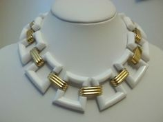 Vintage Trifari Necklace White Lucite Chunky Runway Links Crown Trifari 1970'S | eBay Sold for $ 158