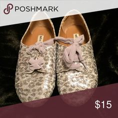 Glam Shoes ✨ These are perfect to dress up those comfy jeans or dress down that gorgeous skirt or dress you always want to wear to every occasion!!!                                                                   Glitter does not fall off. It is an actual part of the shoe. No tread wear. Shoes Flats & Loafers