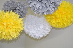 5 Medium Poms White Yellow Gray Dessert Table by PomVillage White Baby Showers, Baby Shower Yellow, Yellow Grey Weddings, Gray Weddings, Dessert Table Decor, Table Decorations, Yellow Desserts, Paper Pom Poms, Tissue Paper