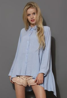Cool Touch Asymmetric Blouse in Blue