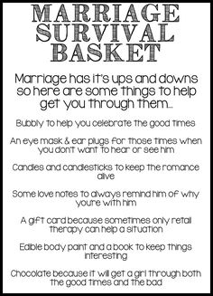 Marriage Survival Basket Note