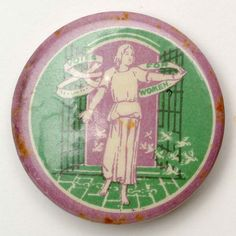 This was one of several badges designed by Sylvia Pankhurst, daughter of WSPU founder, Emmeline Pankhurst. Sylvia Pankhurst contributed much of her art to the movement. Women Suffragette, Suffragette Colours, Sylvia Pankhurst, Emmeline Pankhurst, Deeds Not Words, Suffragette Jewellery, Suffrage Movement, Green Color Schemes, Brave Women