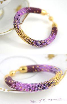 Best Bracelet Perles 2017/ 2018 : Irises - Classic Bead Crochet Bracelet  with 24K seed beads & Swarovski Crystal Lilac Violet Gold Anti stress bracelet Beadwork Handmade