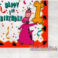 Flintstones Dino 1st Birthday Large Napkins 16ct  Hard To Find cakepins.com