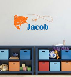 Fishing Wall Decor Name Custom Wall Decal by ZillyWalls on Etsy