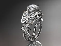 14kt white gold diamond floral, butterfly wedding ring... exquisite!