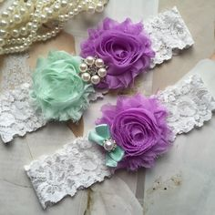 Wedding Garter , bridal garter, wedding lace garter,Ivory Lace Garter, Toss Garter,Lavender and mint green garter by AnnaBridalBoutique on Etsy https://www.etsy.com/listing/235268736/wedding-garter-bridal-garter-wedding