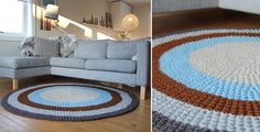 "Make a large Round Carpet to match your living room. Diameter is about 60""- Free Pattern"
