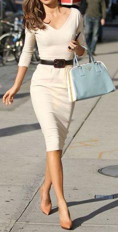 pointy toe heels, belted midi dress