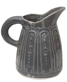 Patterned Ceramic Jug. Pair with the hotglue on glass Idea and paint in layers?