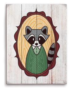 Look what I found on #zulily! Raccoon Awesome Sweater Animal Portrait Wall Art by Image Canvas #zulilyfinds