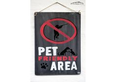 Pet friendly area Funny Paintings, Animal Paintings, Wooden Signs With Sayings, Nature Quotes, Funny Quotes, Hand Painted, Pets, Decor, Funny Phrases