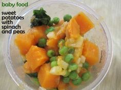 Baby Food Recipe: Sweet Potatoes with Spinach and Peas