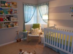 Love this nursery-- Arwen's Nursery (uh, and the name! Project Nursery, Rocking Chair, Cribs, Projects, Bedrooms, Baby, House, Stripes, Furniture