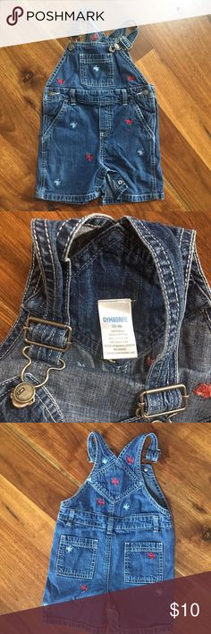Gymboree 12-18 months short overalls Gymboree 12-18 months denim short overalls. Gently used. Snap closure at the legs. Embroidered lobsters and crab. Please see the coordinating sweatshirt also in my closet. From a non-smoking and pet free home. Gymboree Bottoms Overalls