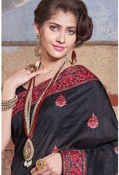 Blended Tussar Embroidery-Black-Resham thread work-SR23836