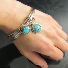 sterling silver turquoise gemstone bangle  by NRjewellerydesign