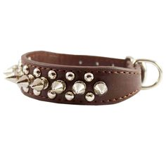 """Amazon.com: 8""""-10"""" Brown Leather Spiked Studded Dog Collar 7/8"""" Wide for Small/X-Small Breeds and Puppies: Pet Supplies"""