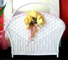 Wicker Basket Shabby chic White  Storage by BlueEggUpcycling, $58.00