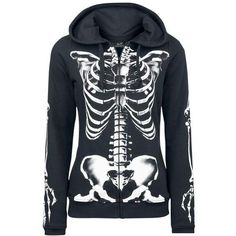Skeleton Sweatjacket ($39) ❤ liked on Polyvore featuring hoodies, outerwear and tops