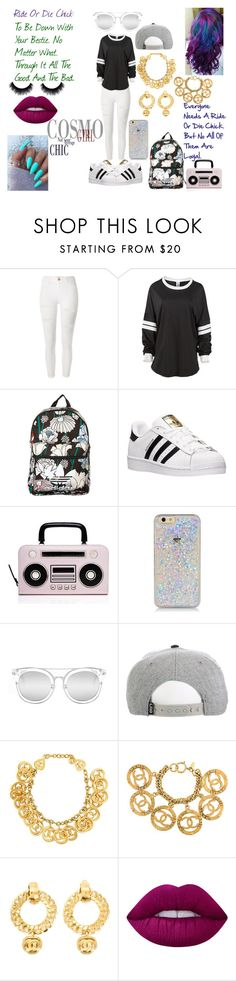 """Be Careful Who You Label: Ride Or Die Chick"" by charlese-b ❤ liked on Polyvore featuring River Island, adidas Originals, adidas, Kate Spade, Quay, Chanel, Lime Crime, Trust, becareful and frenemies"