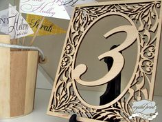 Wood cut table number | Flickr - Photo Sharing!