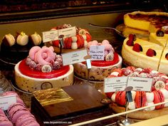 Grogeous French cakes in a shop window, Paris