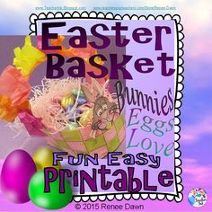 """Fun, Easy Printable - Easter basket for your Easter eggs, plastic eggs, Easter grass, peeps, and candy treats! Just color, cut and add 3 dabs of glue. Photo pictorial """"Step by Step Directions"""" included to aid children's craft-making."""