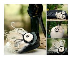 Shoe Clips Champagne Ivory Rosette & Black Feathers  by sofisticata on Etsy, http://sofisticata.etsy.com French Inspired, Pantone Sand 2014. Wedding Heel Accessory.