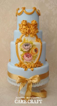 Rococo style wedding cake. Hand painted florals. Photography by Scott-Ireland Photography
