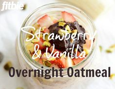 This tangy overnight oats recipe from Fit Foodie Finds features strawberries, chia seeds, and chocolate almond butter. The perfect spring breakfast! | Fitbie.com